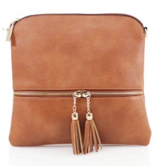 Tan Small Tassel Crossbody Bag
