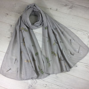 Light Grey Dragonfly Scarf with Glitter Wings