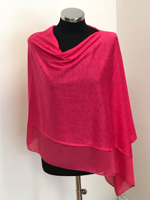 Fuschia Pink Lightweight Wool Blend Poncho