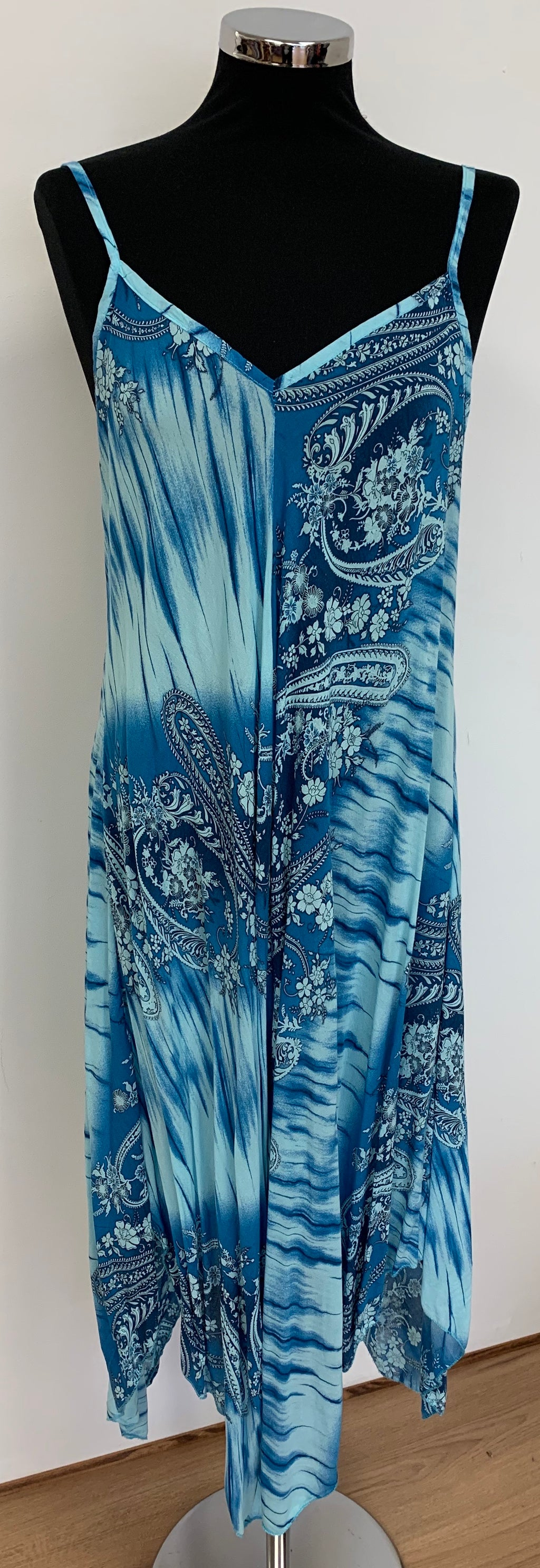 Classic Handkerchief Style Turquoise Maxi Dress - Blue Paisley Print