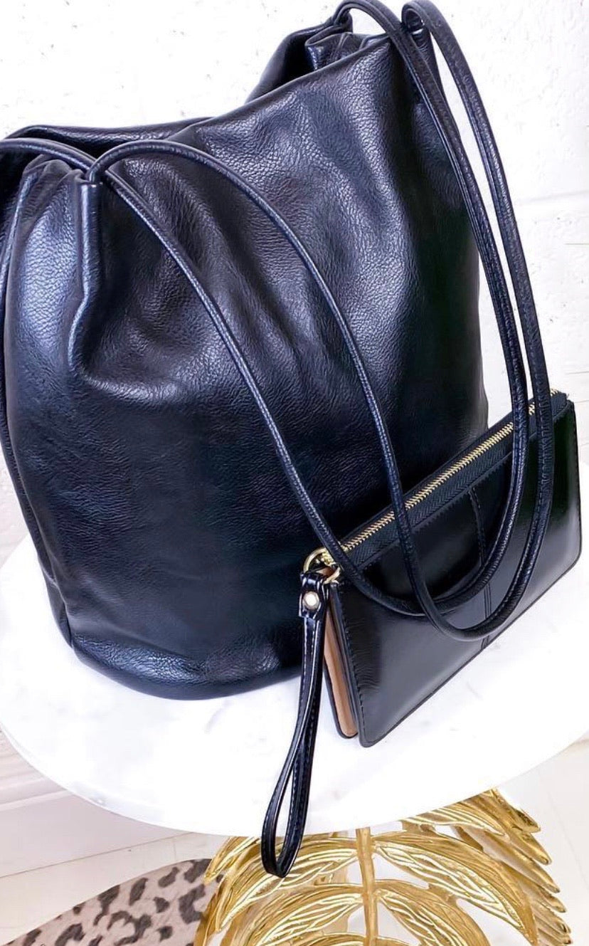 Black Bucket Bag & Bracelet Purse Set