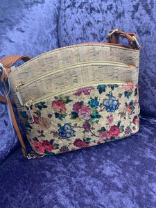 Floral Rose Cork Faux 3 Zip Crossbody Style Bag