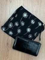 Black Dandelion Scarf & Bracelet Purse Gift Set