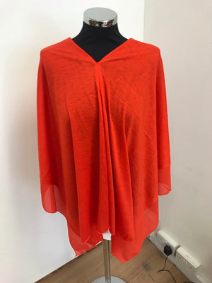 Orange Lightweight Wool Blend Poncho
