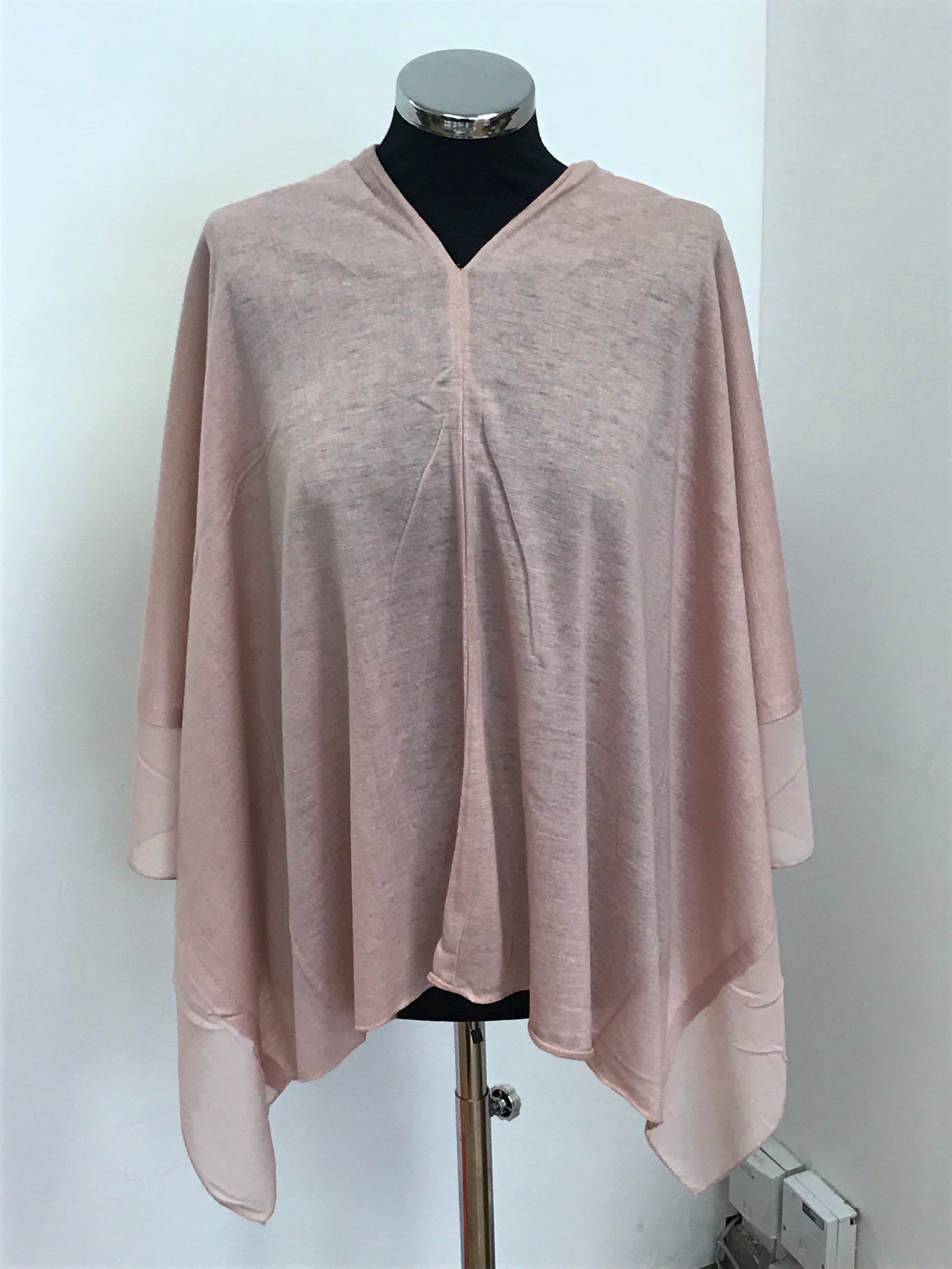 Dusky Pink Lightweight Wool Blend Poncho