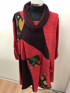 Bright Red Woodland Print Tunic with Snood