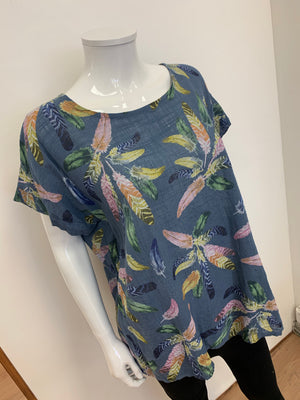 Delicate Feather Flourish Print Lightweight Summer Cotton Top