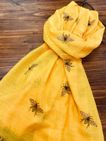 Bee Printed Mustard Scarf with Glitter Wings