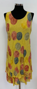 V Neck Sleeveless Stretch Dress in Yellow Multi Spot Print (10-18)