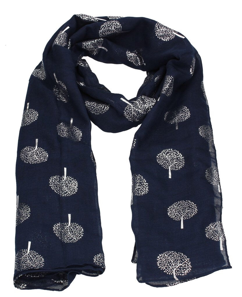 Navy Tree of Life Silver Mulberry Tree Scarf