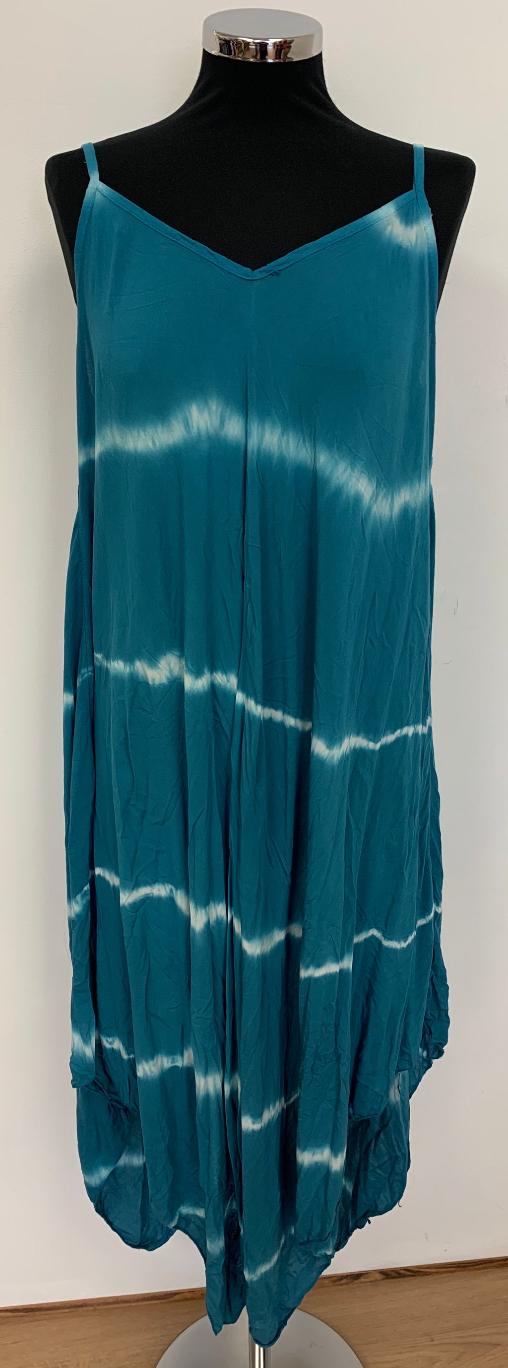 Classic Handkerchief Style Maxi Dress - Teal Tie Dye Design