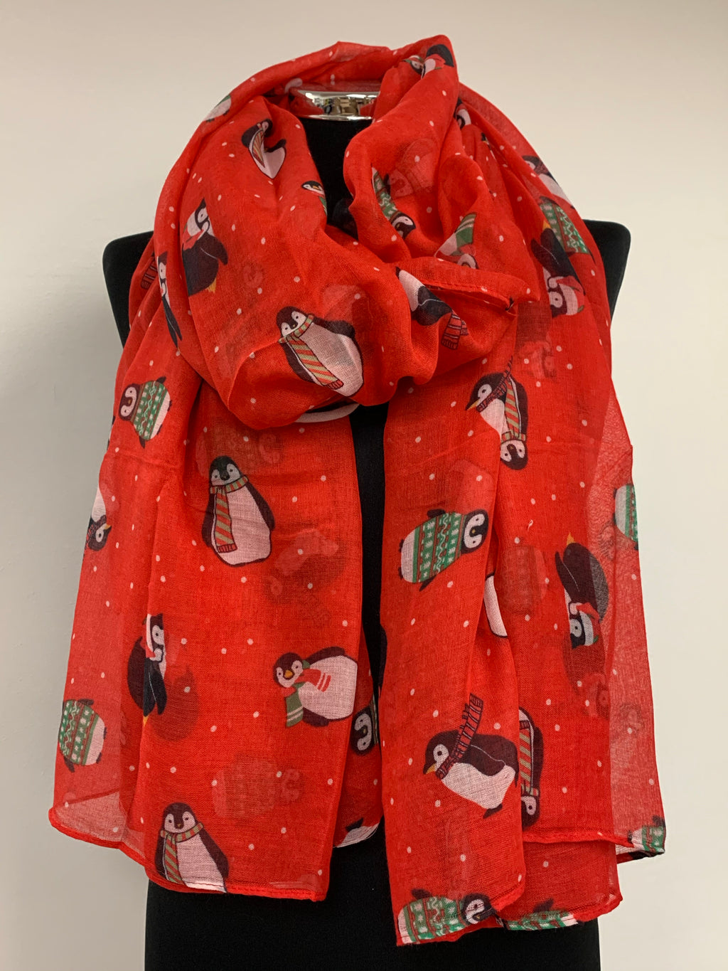 Christmas Cosy Baby Penguin Festive Scarf in Red