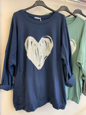 Sketched Heart Lightweight Sweatshirt (12-18/20)
