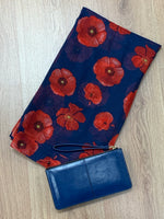 Navy Poppy Scarf & Bracelet Purse Gift Set