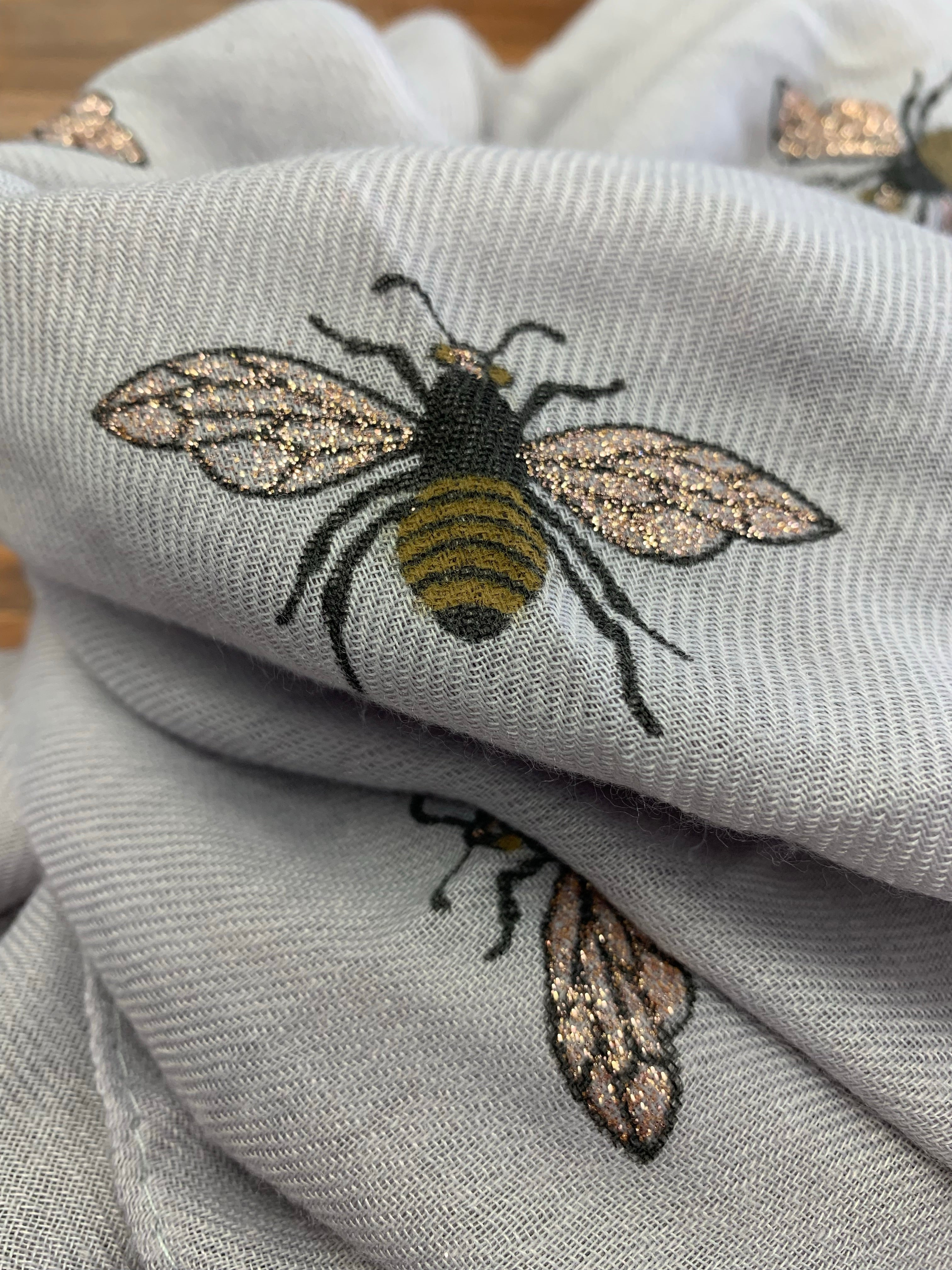 Bee Printed Grey Scarf with Glitter Wings