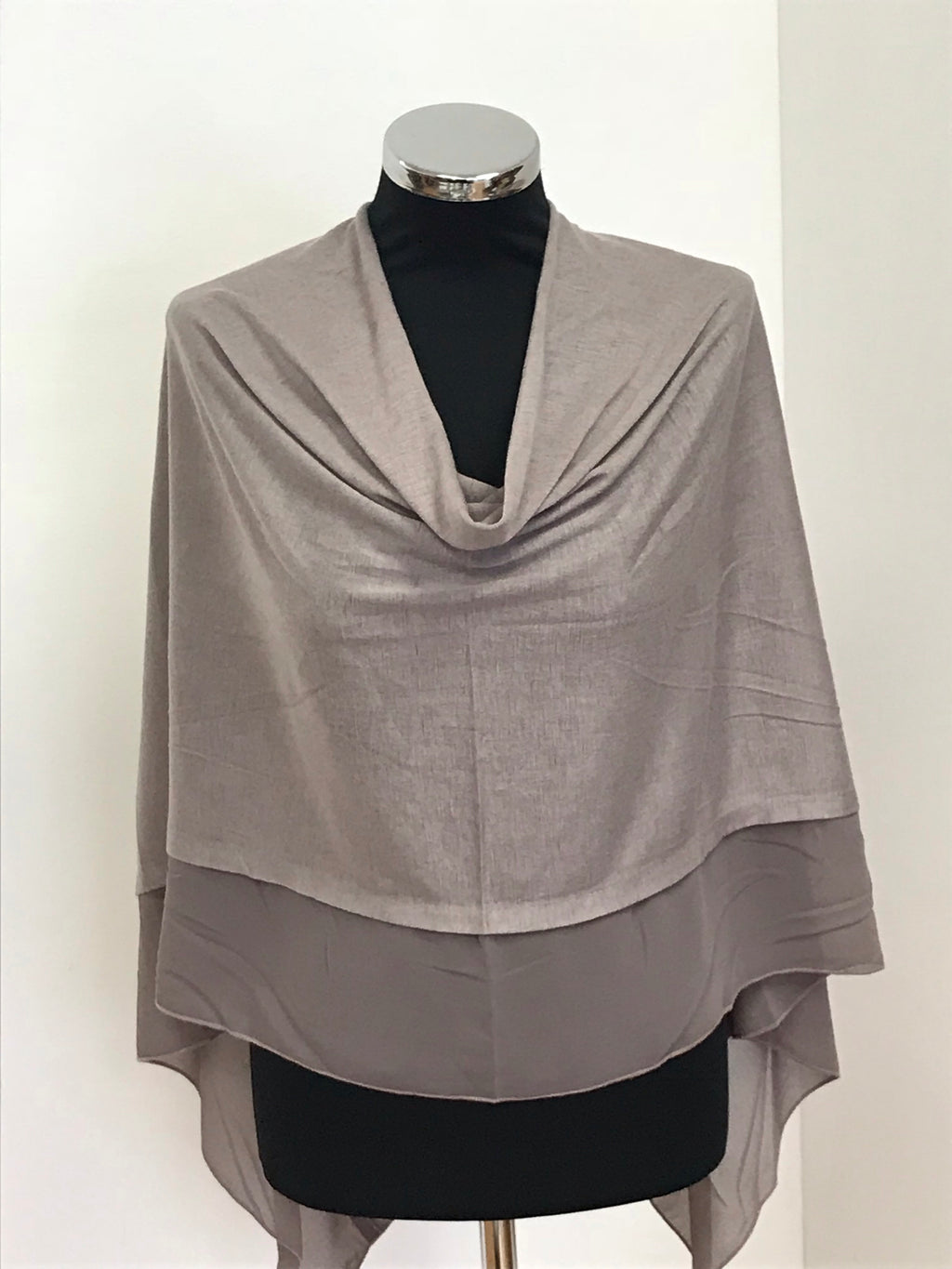 Taupe Lightweight Wool Blend Poncho