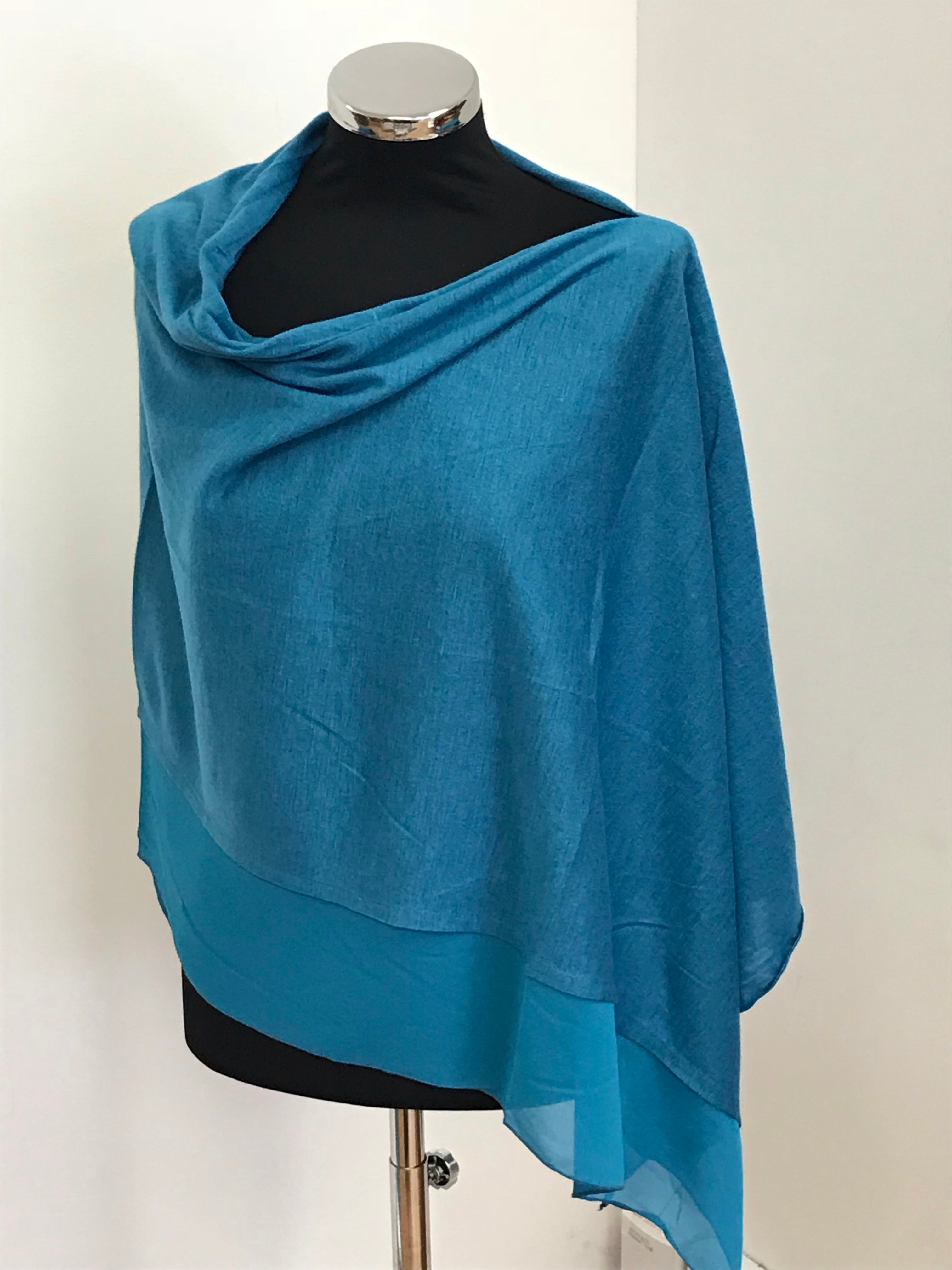 Turquoise Lightweight Wool Blend Poncho
