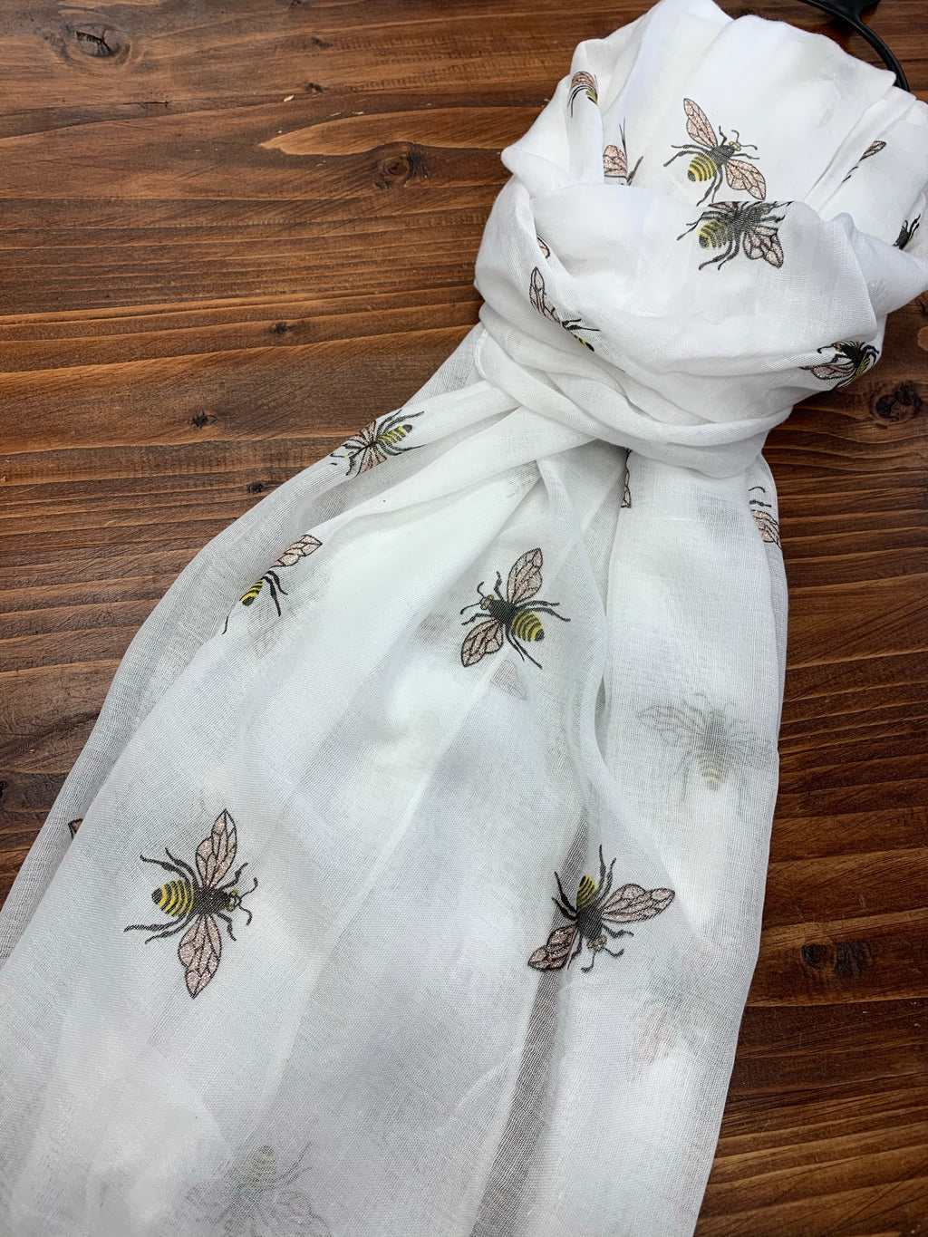 Bee Printed White Scarf with Glitter Wings