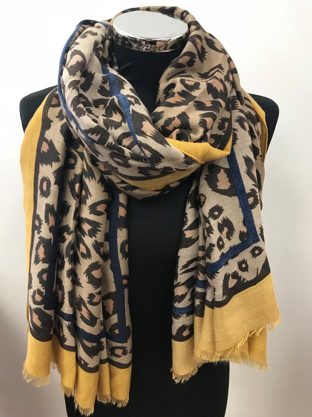 Large Leopard Print Scarf with Mustard Border