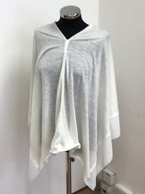 Cream Lightweight Wool Blend Poncho