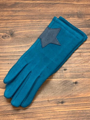 Star Faux Suede Gloves