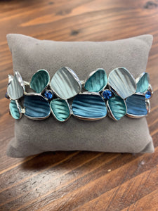 Enamelled Style Bracelet in Deep Turquoise Crinkled Shells & Jewel Design