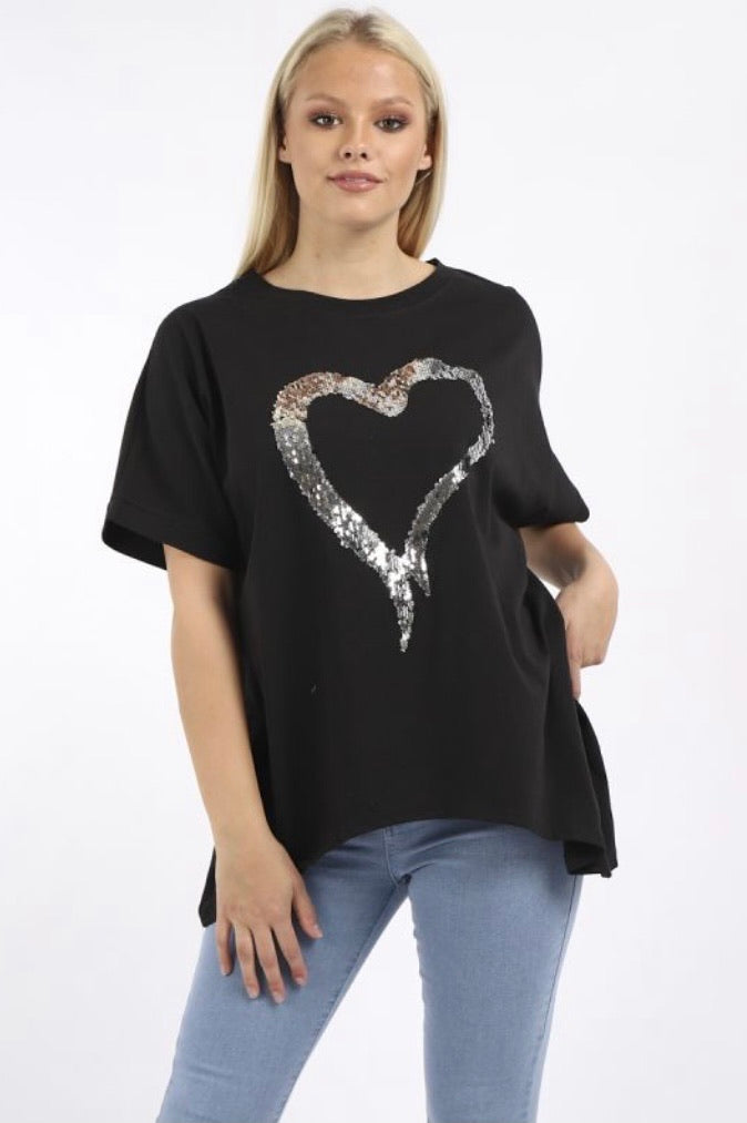 Sequin Heart Dipped Hem Cotton Tunic Top (14-20)