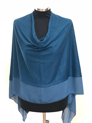 Deep Sea Blue Lightweight Wool Blend Poncho