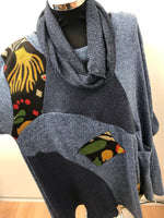 Blue Woodland Patchwork Print Tunic with Snood