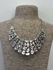 Silver Hammered Linked Scoop Necklace