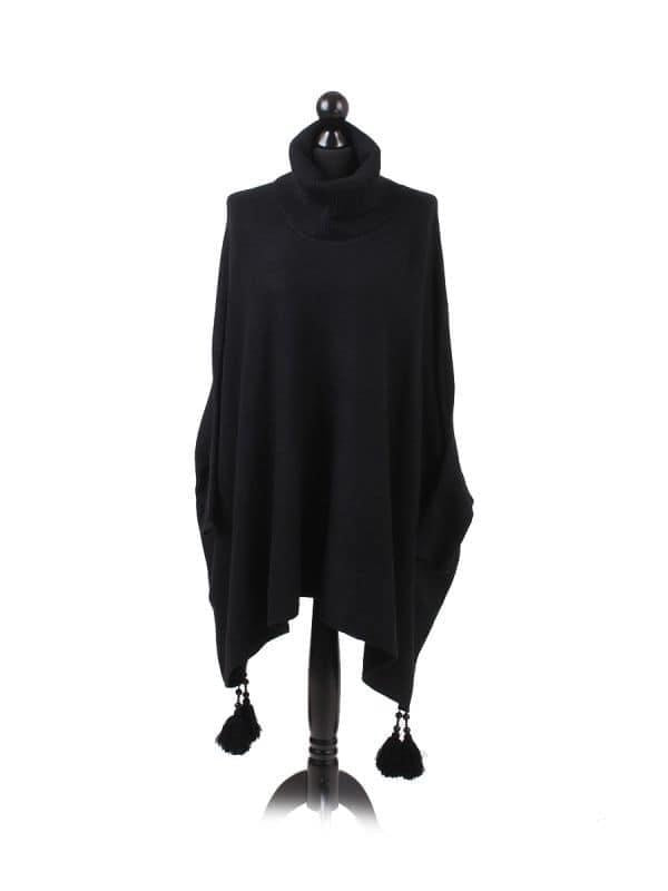 Oversized Cowl Neck Poncho Jumper with Tassels