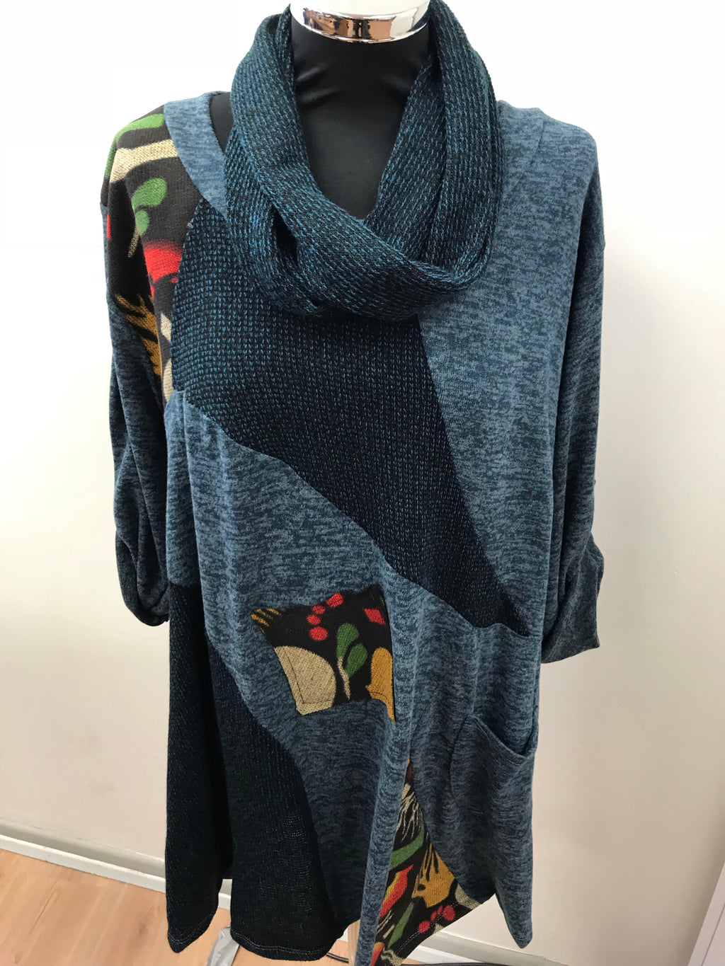 Teal Blue Woodland Patchwork Print Tunic with Snood