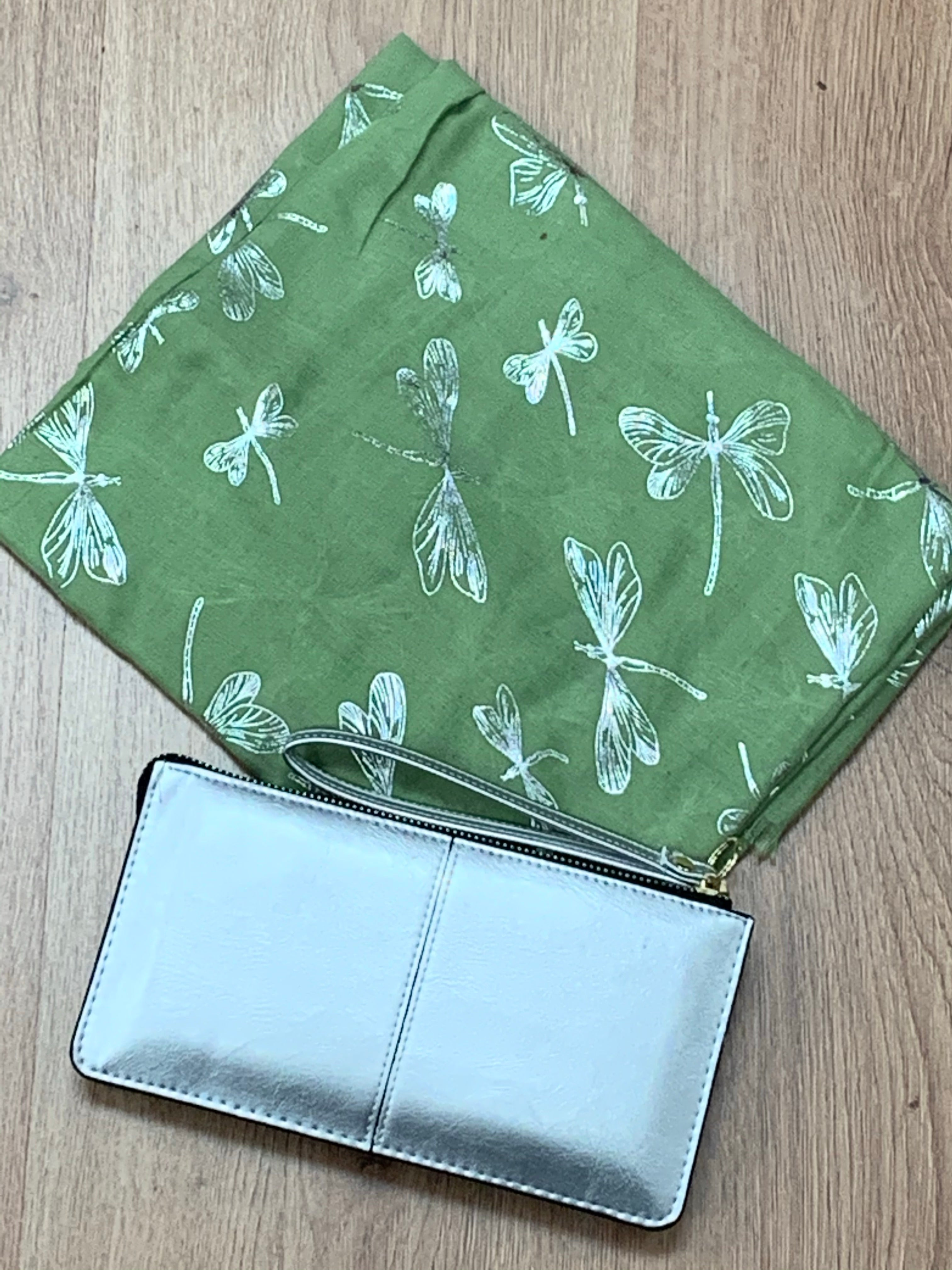 Green Dragonfly Printed Scarf & Silver Bracelet Purse Gift Set