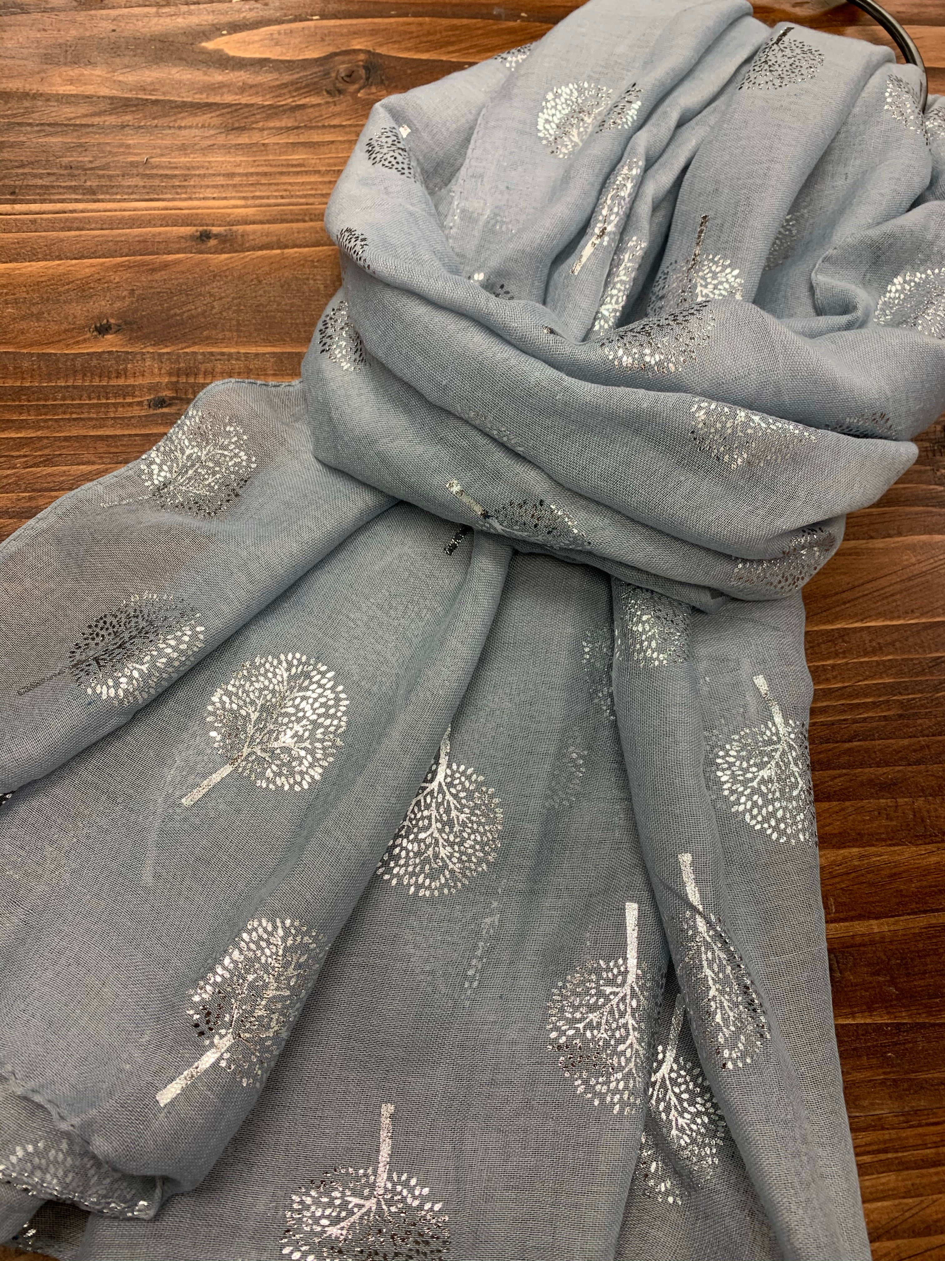 Silver Grey Mulberry Tree Of Life Glitter Scarf