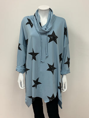 Star Cowl Neck Drawstring Handkerchief Hem Top (12-20)