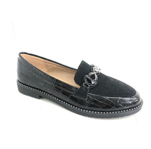 Black Croc & Silver Detail Loafers