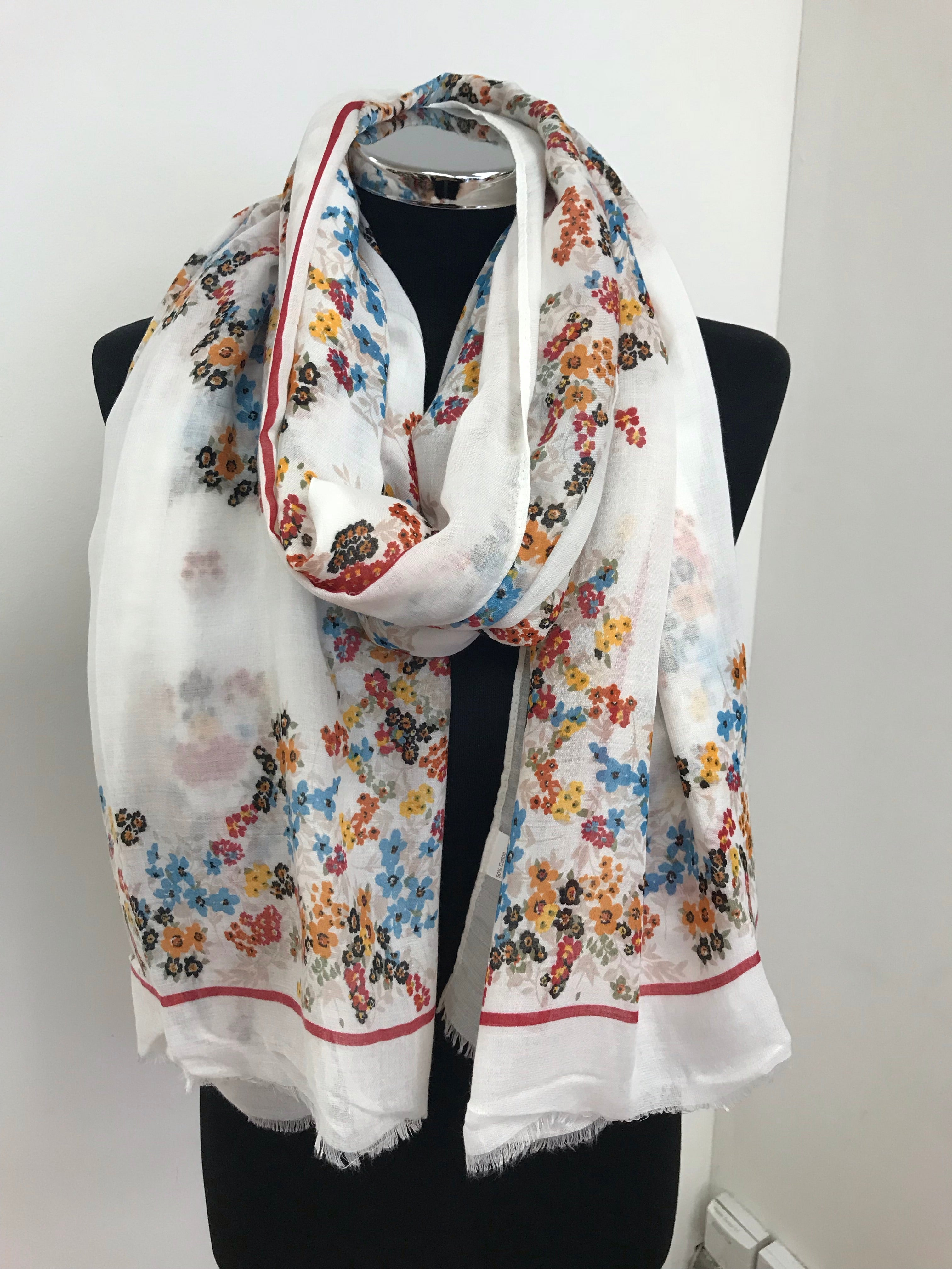 White Ditsy Floral Scarf with Red Border