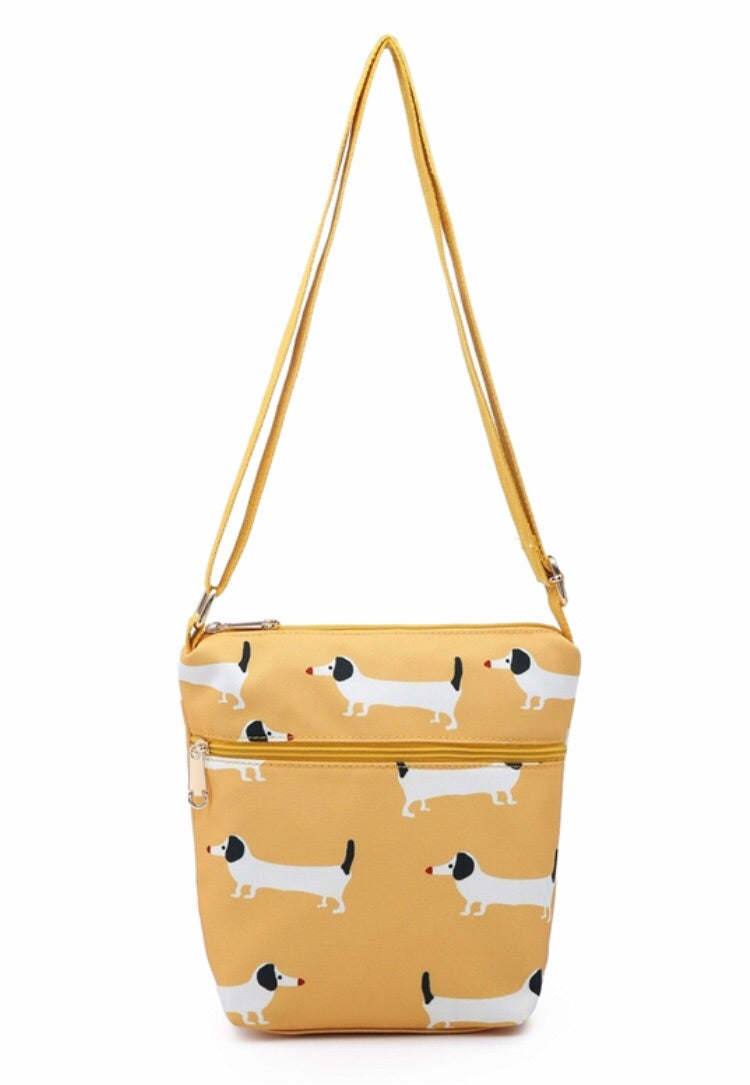 Sausage Dog Print Canvas Cross Body Bag