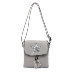 Faux Leather Cross Body Star Bag with Sequin Star and Tassels