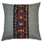 KWAN Eggplant Diamond Silk Hemp Decorative Pillow