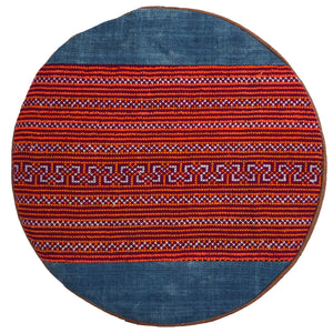Orange Striped Embroidery Meditation Pillow