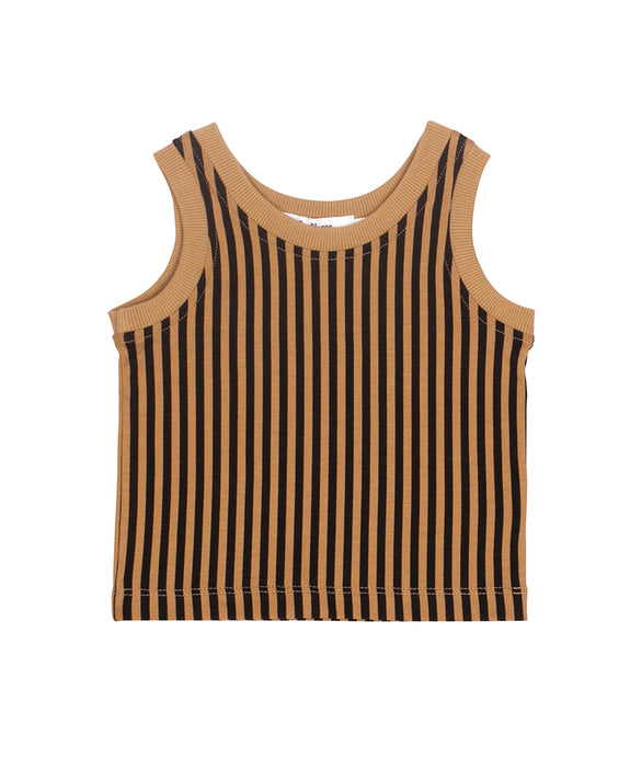 Khaki & black stripes top SayPlease