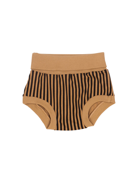 Black and camel stripes baby short SayPlease