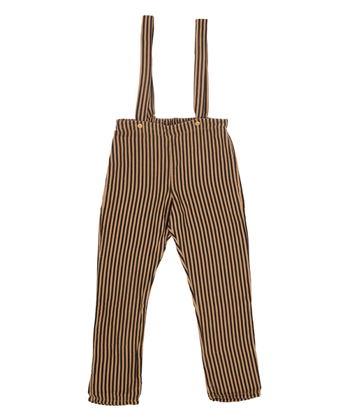 Camel & black stripes pants with suspensers SayPlease