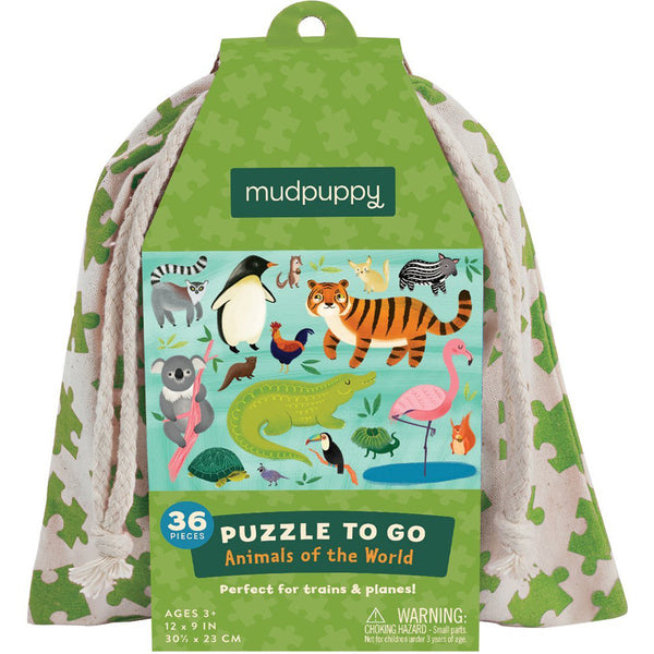 Puzzle to go animals of the world Mudpuppy