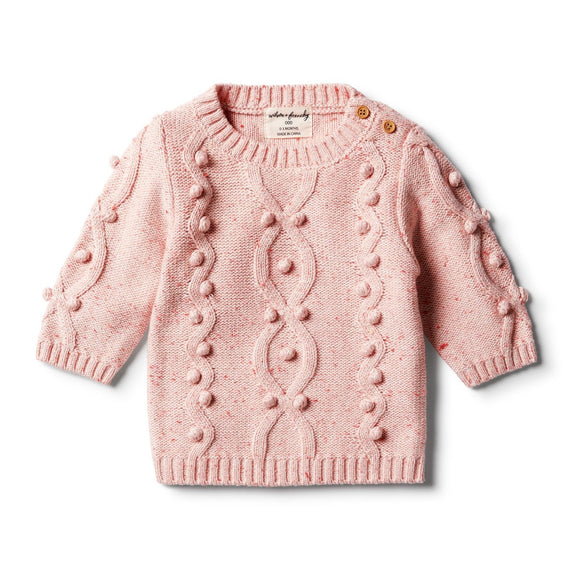 Chilli fleck knitted jumper met pompons