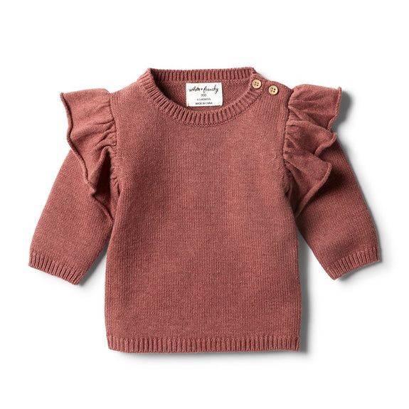 Chilli marle knitted ruffle jumper Wilson & Frenchy