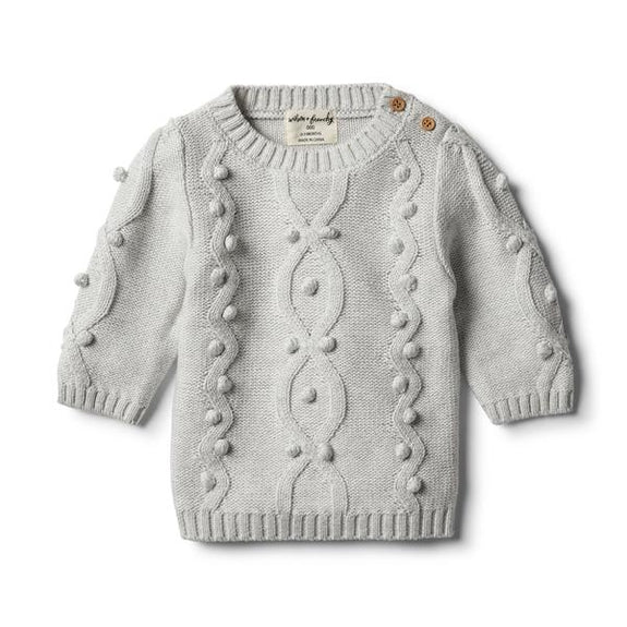 Cloud grey knitted jumper met pompons Wilson & Frenchy