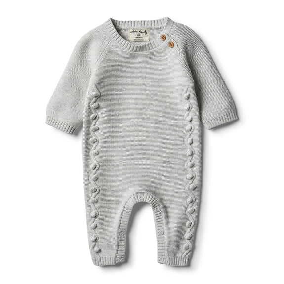 Cloud grey knitted growsuit met pompons Wilson & Frenchy