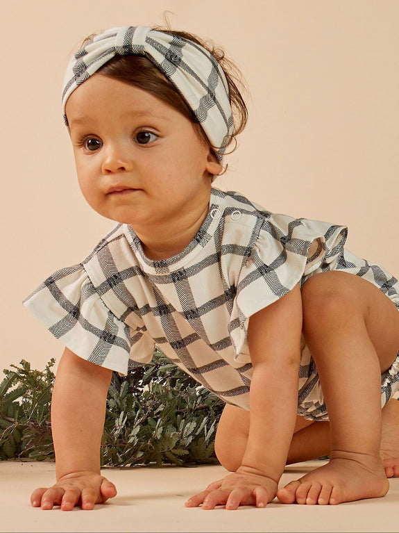 Herringbone check frill onesie Mad About Mini